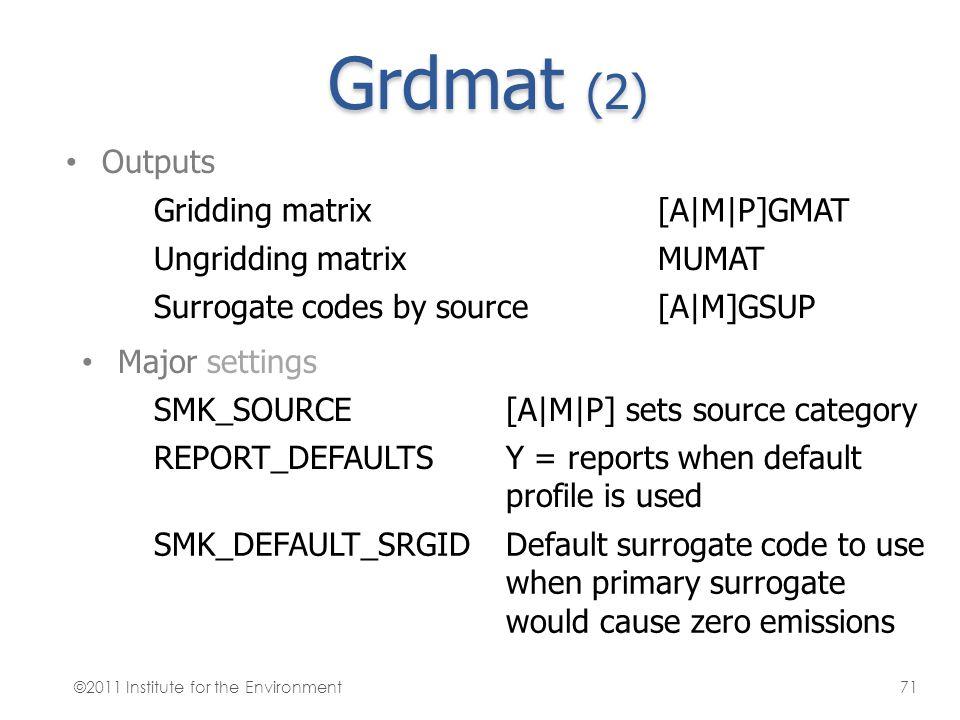 Grdmat (2) Outputs Gridding matrix [A|M|P]GMAT Ungridding matrix MUMAT